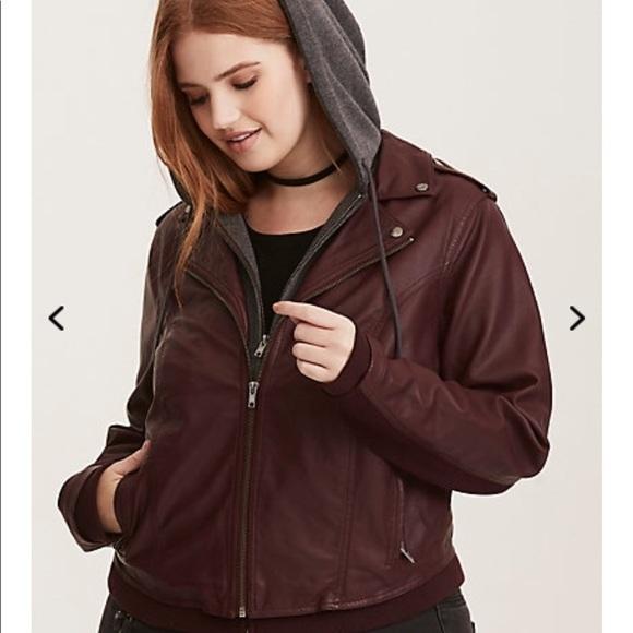 73d1f5c433a NWT torrid size 1 layered burgundy Moto jacket